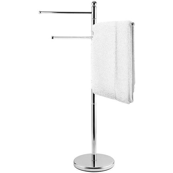 MyGift Stainless Steel Free Standing Towel Rack