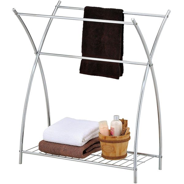MyGift Chrome Freestanding Towel Rack with Wire Shelf