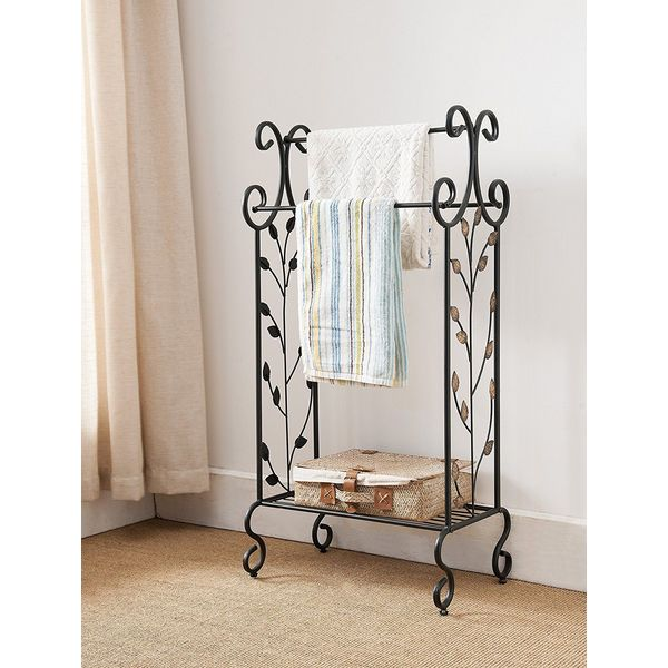 Kings Brand Furniture Black Metal Free Standing Towel Rack with Shelf