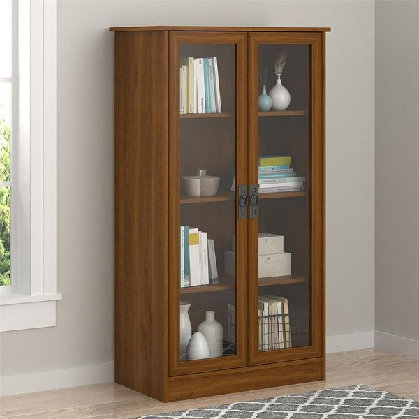 Carina 53-Inch H Four Shelf Glass Door Bookcase