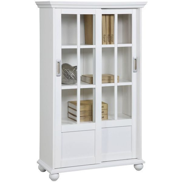 Altra White Bookcase with Sliding Glass Doors