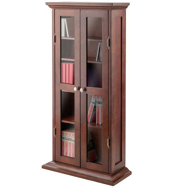 Winsome Wood Antique Walnut Bookcase/Media Cabinet with Glass Doors