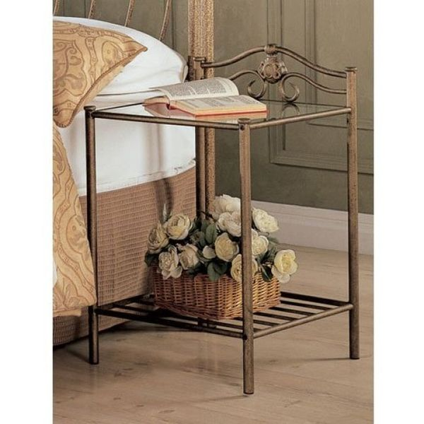 Coaster Home Furnishings Glass Night Stand in Antique Gold Finish