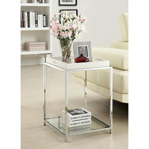 Convenience Concepts Palm Beach Glass Nightstand, White