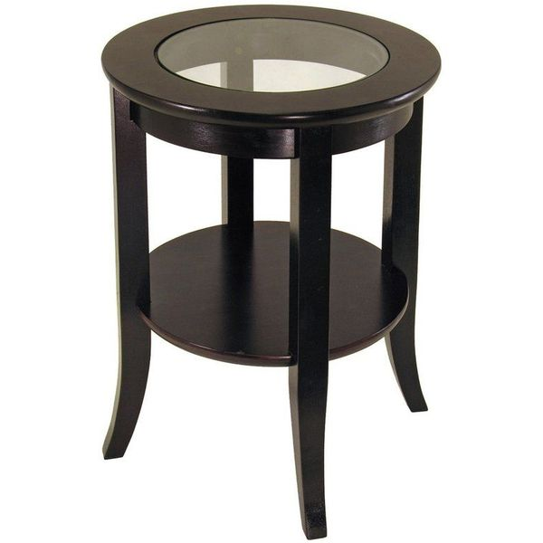 Winsome Espresso Wood and Glass Genoa End Table