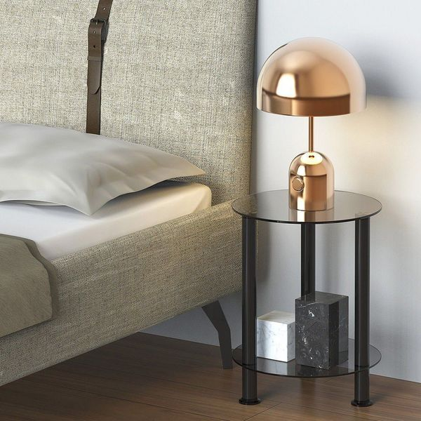 Fitueyes Grey Glass Nightstand