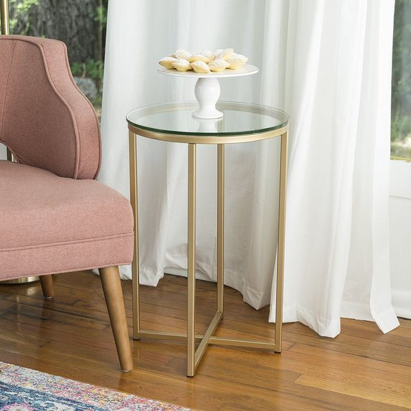 WE Furniture Glass Nightstand, Gold