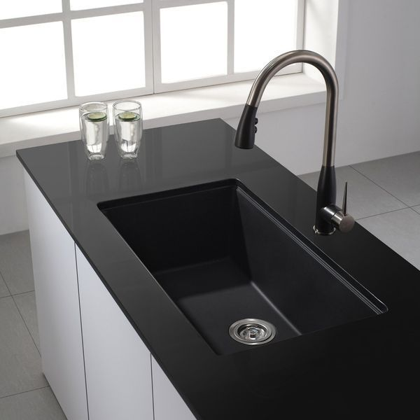 Kraus Undermount Single Bowl Granite Kitchen Sink, Black