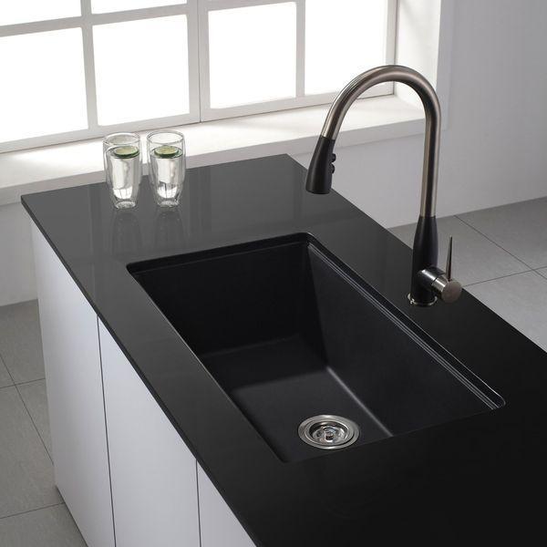 Kraus Undermount Single Bowl Granite Kitchen Sink, Black
