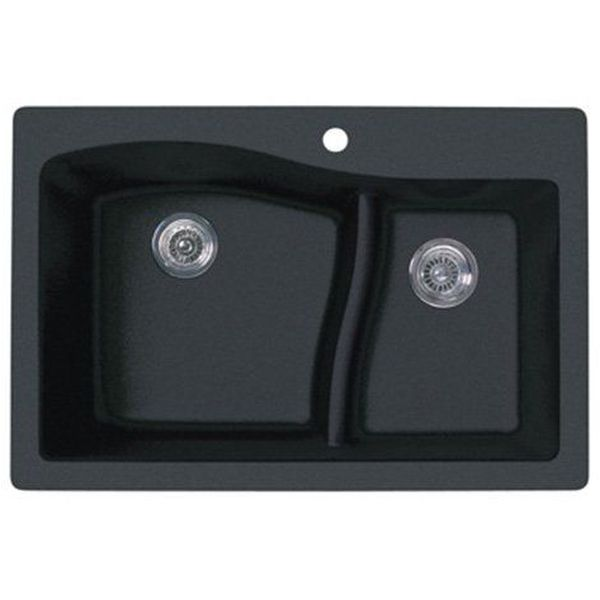 Swanstone 33-Inch by 22-Inch Drop-In Large/Small Bowl Kitchen Sink, Nero