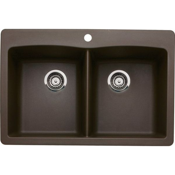Blanco Diamond Double-Basin Drop-In or Undermount Granite Kitchen Sink, Cafe Brown