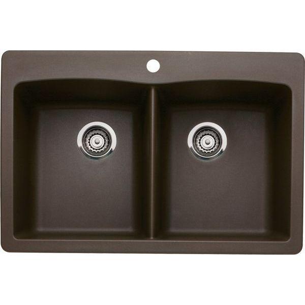 Blanco Diamond Double-Basin Drop-In or Undermount Granite Kitchen Sink, Cafe Brown