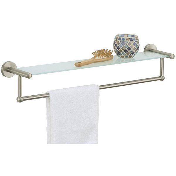 Organize It All Satin Nickel Glass Shelf with Hand Towel Bar
