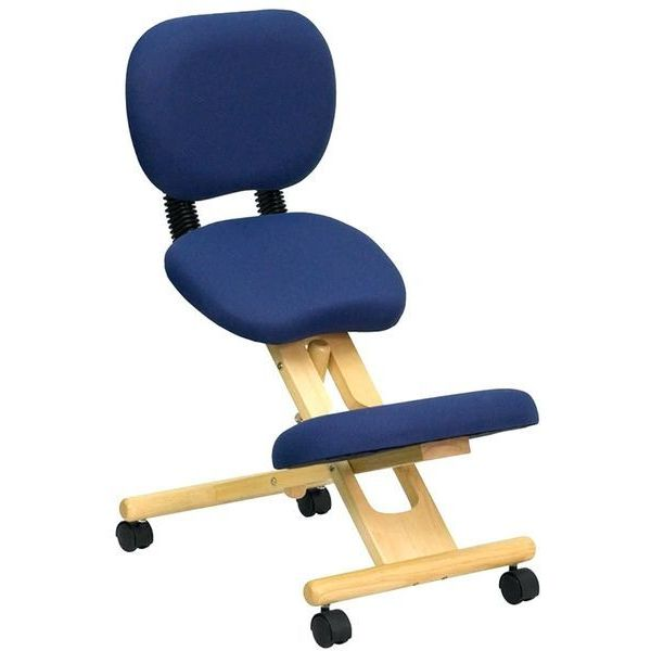 Flash Furniture Mobile Wooden Kneeling Chair with Reclining Back