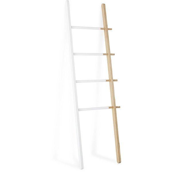 Umbra Hub Ladder Towel Rack, White/Walnut