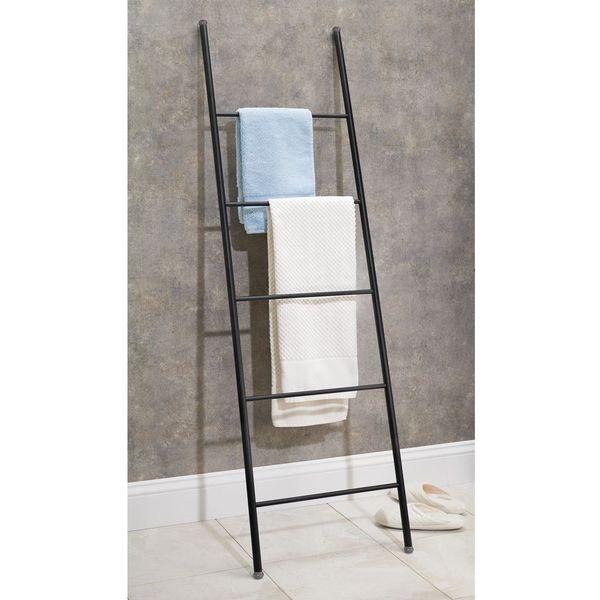 mDesign Free Standing Ladder Towel Rack, Matte Black