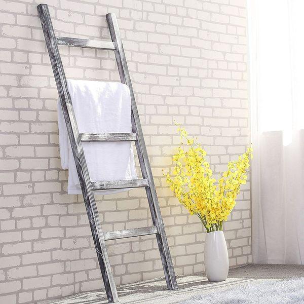 MyGift Weathered Wood Ladder Towel Rack