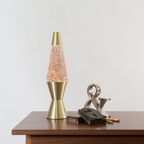 Gold Base Lava Lamp with Rainbow Glitter Wax in Clear Liquid