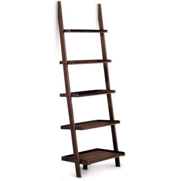 Poundex 5-Tier Cappuccino Leaning Bookcase
