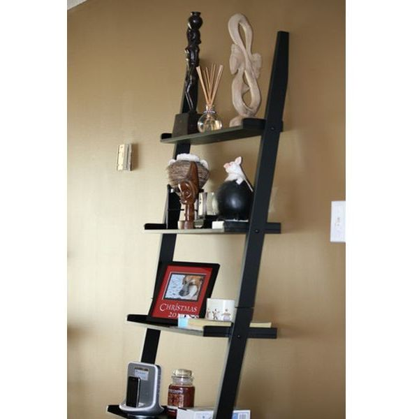 Contemporary Black Finish 5-Tier Ladder Book Shelf