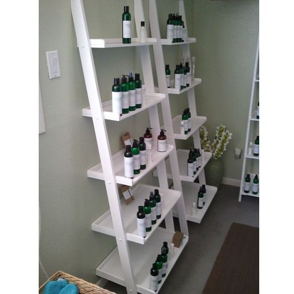 White 5-tier Leaning Ladder Book Shelf