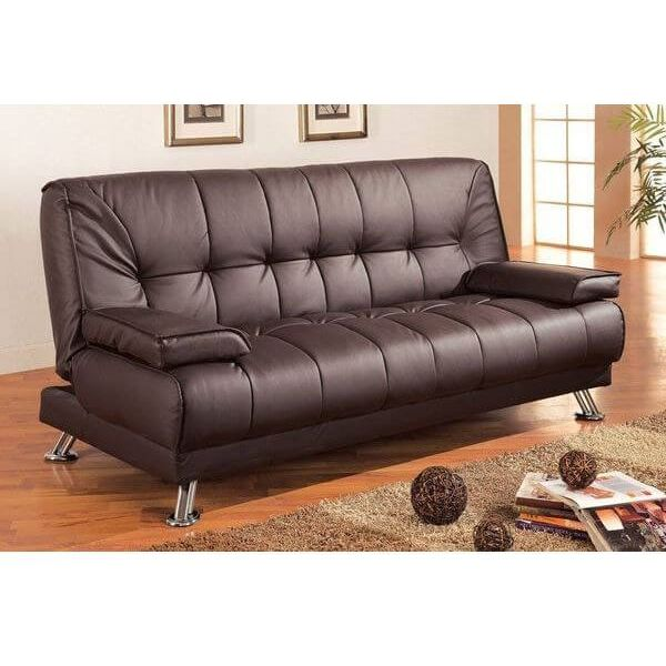 Coaster Brown Leather Futon Sofa Bed
