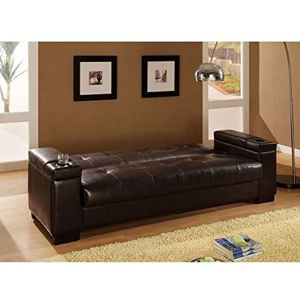 Futon Sofa Bed with Storage Space in Dark Brown Bycast Leather