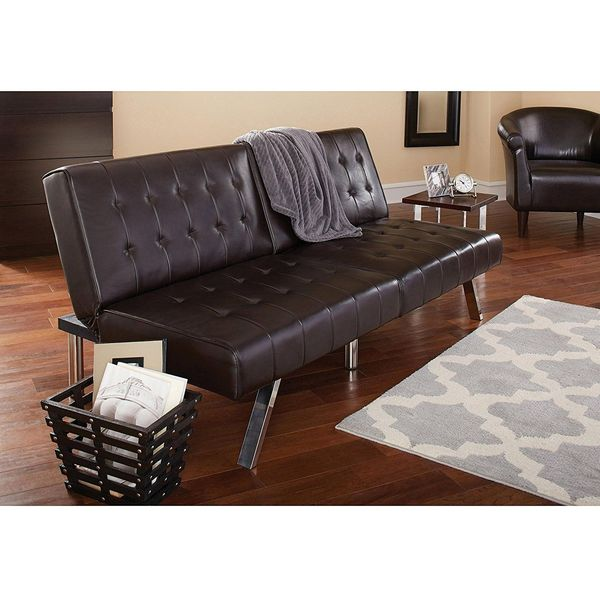 Morgan Convertible Faux Leather Futon, Brown