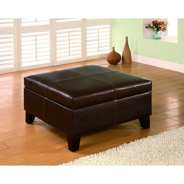 Coaster Dark Brown Contemporary Square Faux Leather Ottoman