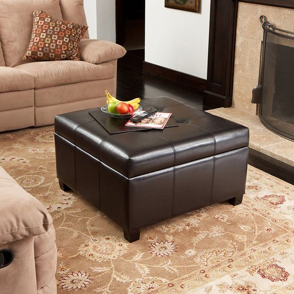 Richmond Espresso Leather Ottoman