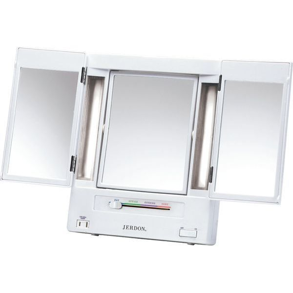 Jerdon Classic Lighted Tri-Fold Mirror
