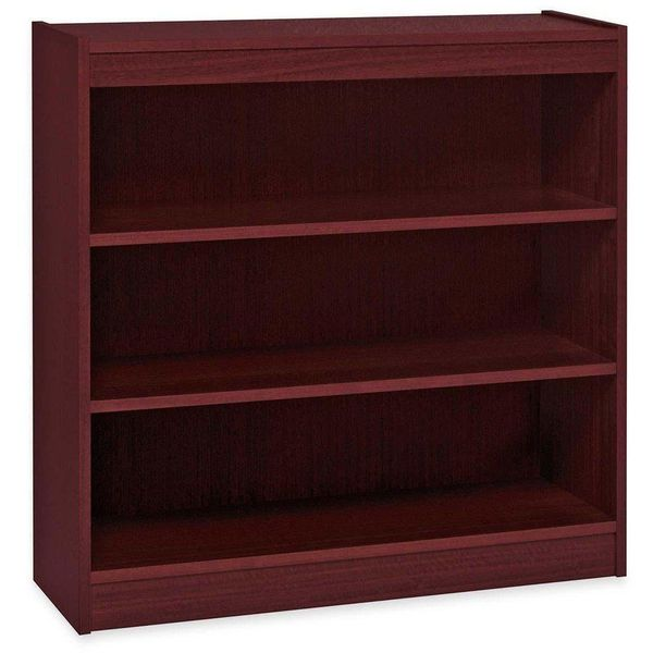 Lorell 3-Shelf Panel Bookcase, Mahogany
