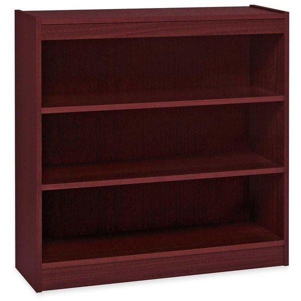 Lorell 3-Shelf Panel Bookcase, Mahogany