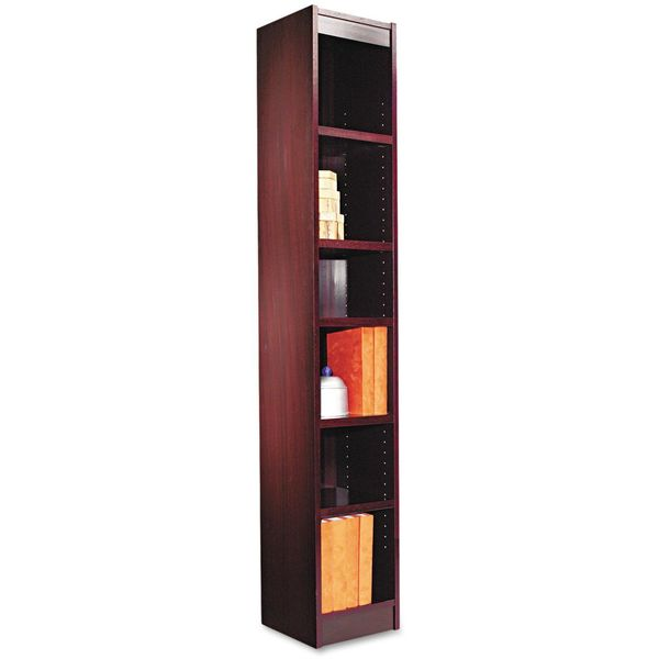 Alera Narrow Profile Six Shelf Bookcase, Mahogany