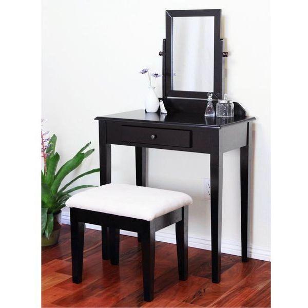 Espresso Finish Wood 3-Pc Makeup Desk