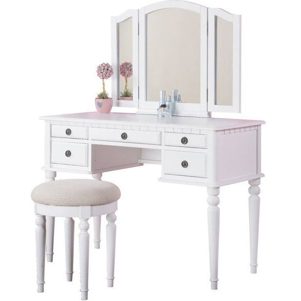 Bobkona St. Croix Collection White Vanity Set with Stool