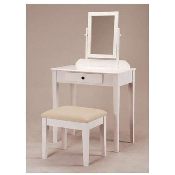 White Bedroom Vanity Table with Tilt Mirror and Cushioned Bench