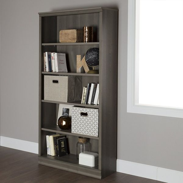 South Shore Morgan 5-Shelf Bookcase, Gray Maple