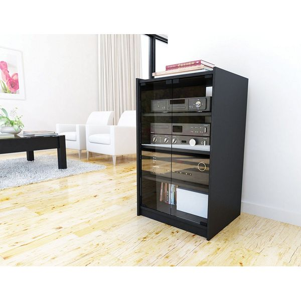 Brown Entertainment Media Storage Cabinet
