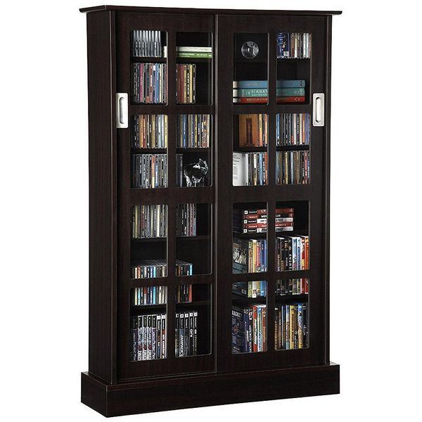 Atlantic Glass Door Cabinet, Espresso