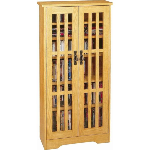 Leslie Dame High-Capacity Inlaid Glass Mission Style Multimedia Storage Cabinet, Cherry