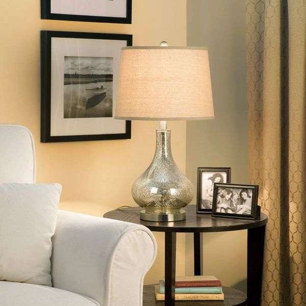 Catalina 3-Way Mercury Glass Lamp, Brushed Nickel Base