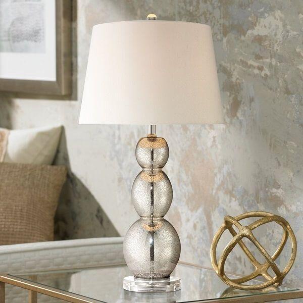 Mercury Glass Triple Gourd Table Lamp
