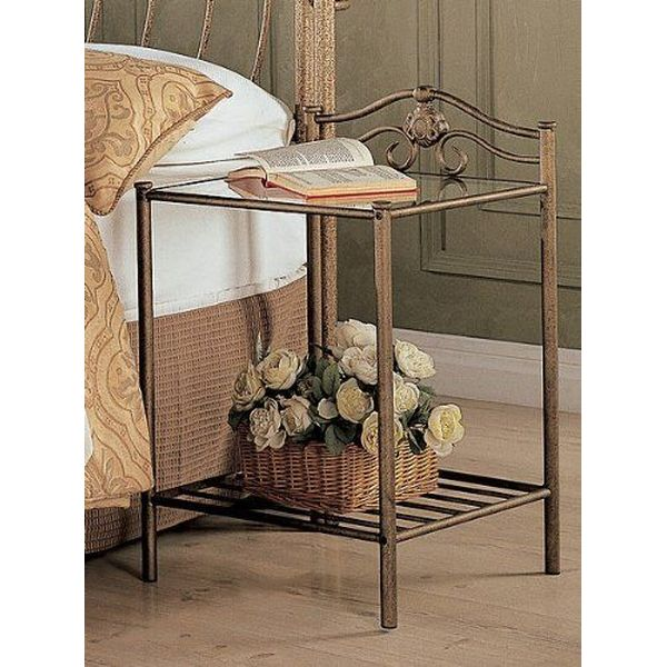 Coaster Home Furnishings Antique Gold Finish Metal Nightstand