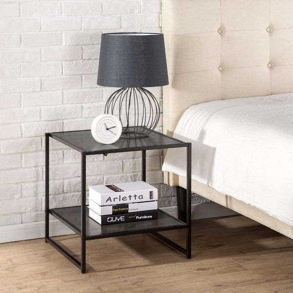 Zinus Modern Studio Collection Square Metal Nightstand, Espresso
