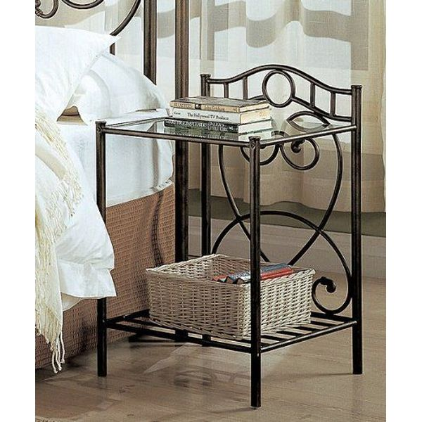 Transitional Iron Nightstand with Shelf