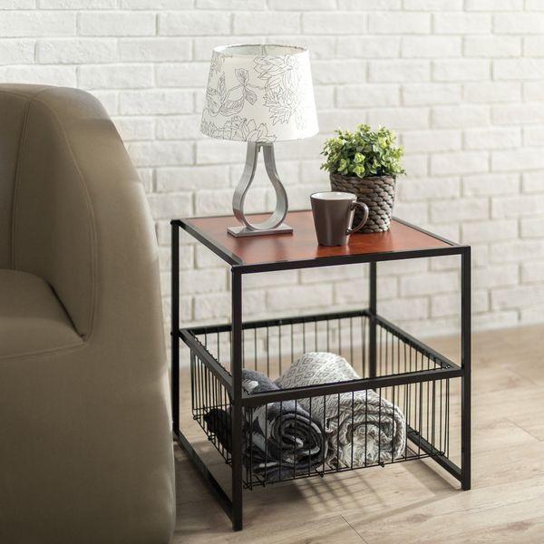 Zinus Modern Studio Collection Metal Nightstand with Storage Basket