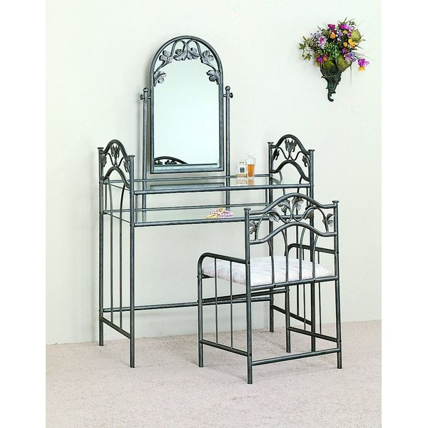 Coaster Nickel Bronze Finish Metal Vanity Table Stool & Mirror Set
