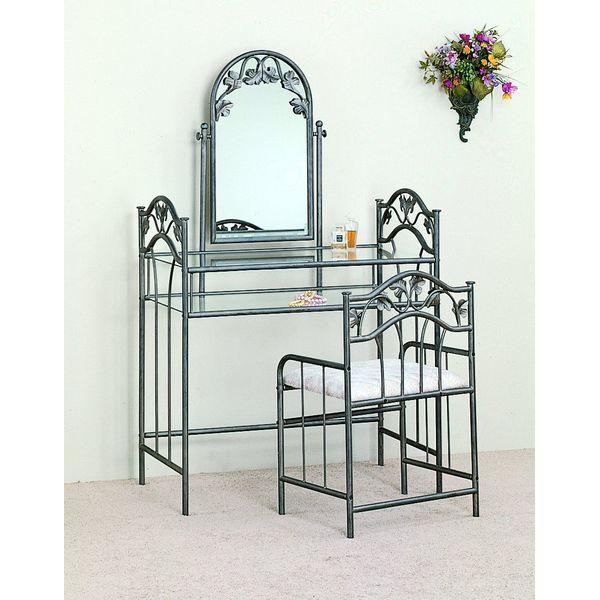 Coaster Nickel Bronze Finish Metal Vanity Table Stool & Mirror Set
