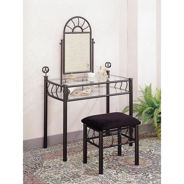 Coaster Vanity Set withVanity Table, Mirror and Bench